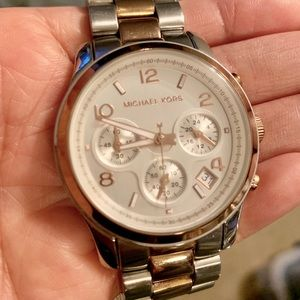 Beautiful Michael Kors Rose Gold & Silver Watch